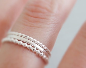 Sterling Silver Rings hammered Stacking Rings set of 3 thin silver stackable rings