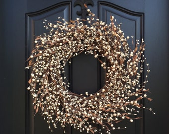 Cream Berry Wreath - Fall Wreath - Year Round Door Decor - Shabby Chic Decor - Simple Home Decor