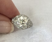 Reduced Price Edwardian 2 Carats Plus European Cut Diamond Engagement Ring Art Deco 1920s set in Original Platinum Mounting