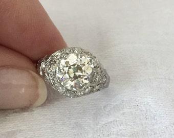 Reduced Price Edwardian 2 Carats Plus European Cut Diamond Engagement Ring Art Deco 1920s set in Original Platinum Mounting