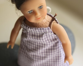 """American Girl 6.5"""" Mini Doll Clothes - Pillow case Dress in Lavendar Gingham"""