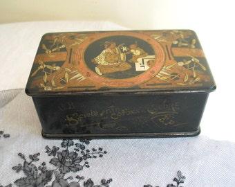 Antique Black Lacquer Thread Box from France /Societe Francaise De Cotons a Coudre/ Papier Mache