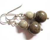 Beach Day, aqua terra jasper earrings, earthy globes, sterling and stone earrings
