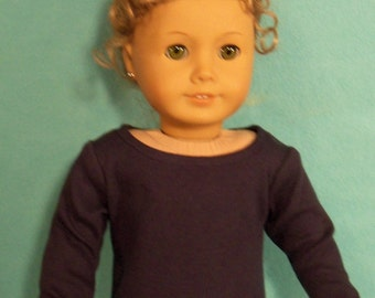 American Made 18 inch   Doll Long Sleeved Navy Scoop Neck Tee-Shirt