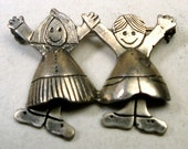Silver Plated CHILDREN Pin with Moving Dangling FEET, Boy and Girl Brooch,  Marked 925 E P S, Looks Like Sterling, Not, 1980s