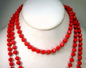 SEXY 5 Foot Long Lipstick Red Glass Necklace, HandKnotted Valentine Red Faceted Glass Beads, Flapper Classic, Passionate, Clips Also
