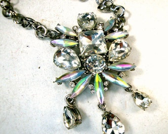 Glitzy Glam Jeweled Rhinestone Pendant on Silver Chains, All GLASS,  OOAK by R Starr, Recycled Ecochic