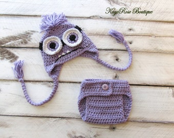 Inspired Despicable Me Evil Minion Newborn Baby Hat and Diaper Cover Set Purple