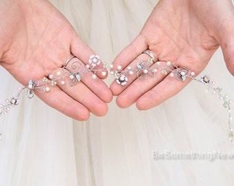 Silver Pearl and Crystal Wedding Hair Vine Bridal Hair Accessories Beaded Wedding Hair Accessory with Rustic Boho Wedding Headpiece