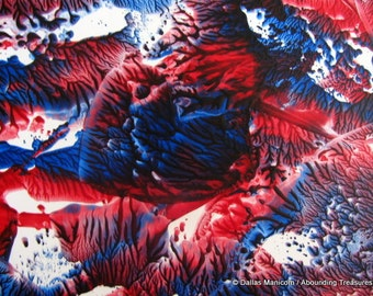 5X7 Red, White & Blue Explosion. Encaustic (Wax) Abstract Original Painting. Beeswax Painting