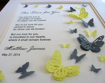 Our Love for You Fluttering Skyward. 3D Memorial Butterfly Word Art. YOU Choose Colours & Personalization. 8x10. Made to Order