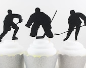 Ice Hockey Silhouette Cupcake Toppers - Set of 12 - with Silver Glitter Stanley Cup Topper!