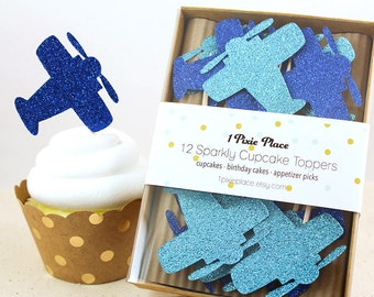 Glitter Airplane Cupcake Toppers - Set of 12