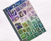 Travel Journal, Traveler's Notebook 8 - Upcycled Ephemera Postage Stamp Art, Purple Green Recycled Art Abstract Landscape, Lined A5 Notebook