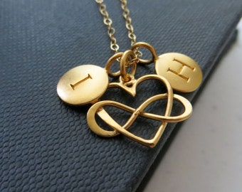 Mothers day gift  from husband, couples necklace,  infinity heart love, initial necklace,  personalized gift for wife