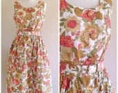 Vintage 1960s Floral County Fair Dress w/ Amazing Buttons Large