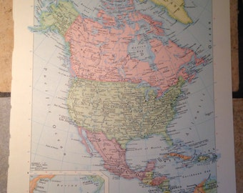 Political Map of North America Antique Illustration