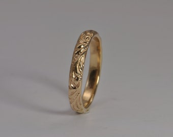 14k wedding band, solid gold band, floral 14k wedding ring, recycled gold, eco friendly jewelry, wedding band, stacking ring, marriage ring