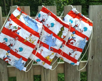 Quilted Backpack for Toddler Drawstring Closure Dr. Seuss and Friends