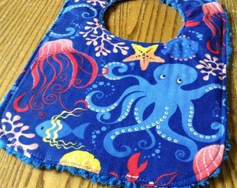 Chenille Back Baby Bib, Snap Closure, Beautiful Octopus and Friends