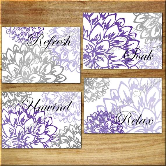Purple gray wall art bathroom bath print decor peony floral for Gray wall art for bathroom
