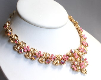 Vintage Art signed gold tone bib necklace with pink glass cabs, faux pearls, AB rhinestones