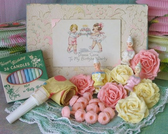 Vintage Birthday Party Cake Decorations Paper Lanterns Candles Inspiration Kit