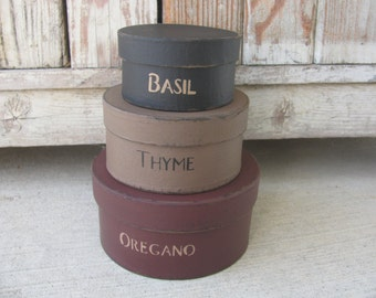 Primitive Country Kitchen Herb Round Stacking Boxes Set of 3 GCC3957