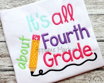 Machine Embroidery Design Applique All About Fourth Grade INSTANT DOWNLOAD