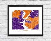 Clemson South Carolina Art Map Print. Size and Color Options available.  Perfect for your Clemson Tiger.