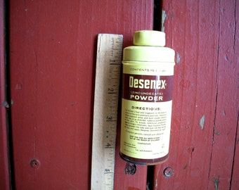 Vintage Tin Container  Desenex Powder For Athletes Foot 4 And 1/4 Inches Tall X 1.5 Inches Wide From the 1960s