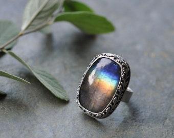 Sterling Labradorite Ring, Oxidised Metalwork Ring, Statement Gemstone Ring - Vine Ring in Labradorite