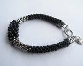 Kumihimo black and silver 8.0  beads Kumihimo bracelet READY TO SHIP