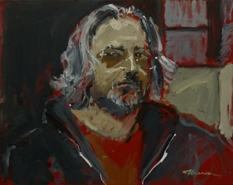 "Artist Self Portrait Painting . ""Like a Rolling Stone, Part 1"" 16x20 in."