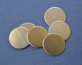 3/4 inch diameter brass discs- brass stamping blanks- set of 6