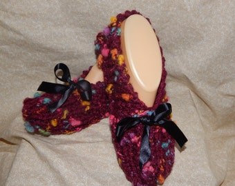 """Women's Handmade Knitted Burgnady Slippers with """"Black Ribbon Size 6. 7. or 8"""""""