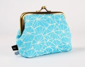Metal frame coin purse - Galaxia Turquoise - Deep dad / Woven cotton by Vesper Wraps / bright blue cream white galaxy spiderweb / Exclusive