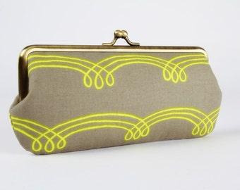Eyeglass frame purse - Whirlwind linen - Long purse / Eyeglass fabric case / Cell phone holder / Cotton and Steel / yellow curls  minimalist