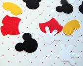200 pieces one inch Mickey icons confetti mickey heads gloves shoes shorts theme birthday table scatter