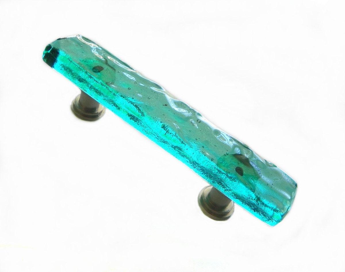 Aqua Glass Drawer Pulls