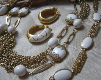 Vintage white goldtone multi chain jewelry set, 2 necklace hoop earrings suite, white summer jewelry collection, Monet clip hoop earrings