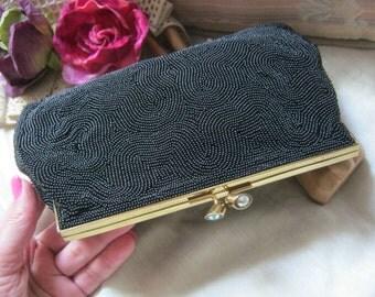 Vintage black micro bead evening clutch, hand beaded black formal bag Schildkraut Bros., crystal kissing lock black dressy clutch, Japan bag