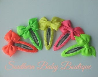 INVENTORY BLOWOUT SALE----Simple Hair Bow Snap Clip Lot----Neon----Ready to Ship----