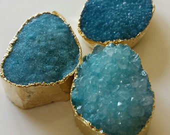 Turquoise Blue Agate Druzy Pendant - gold electro plated - 1 pc