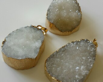 white Agate Druzy Pendant - gold electro plated
