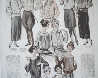 Blouses and Lingerie Fashion 1923 Vintage Print