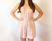 vintage 1940s Dress  // Pale Striped Romper // Rare