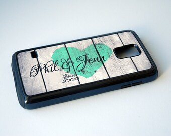 Personalized Rustic Wedding Mint Heart Phone Case + Couple iPhone 4, 4s, 5, 5s, 5c, 6, 6s, 6 Plus, 6s Plus Case, Galaxy S4, S5, S6 Case