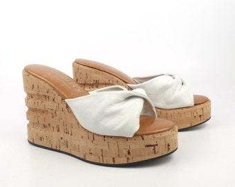 Wedge Platform Sandals Vintage 1970s Cork Chandlers White Leather Women's