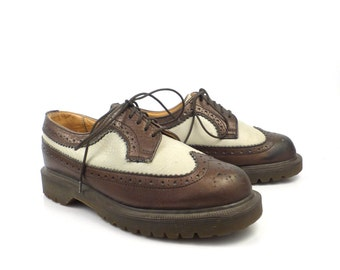 Dr Martens Shoes Oxfords 1990 Doc Brown and White Leather Made in England UK size 3 US Women's size 5